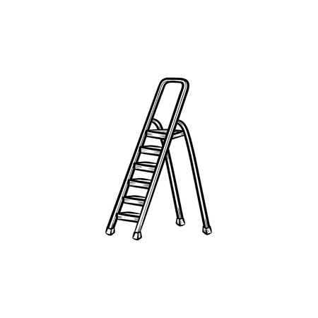 Stepladder hand drawn outline doodle icon. Vector sketch illustration of construction step ladder for print, web, mobile and infographics isolated on white background. 向量圖像