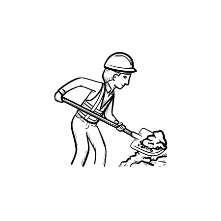 Builder working shovel hand drawn outline doodle icon. Man in hard hat building with shovel with shovel vector sketch illustration for print, web, mobile and infographics isolated on white background.