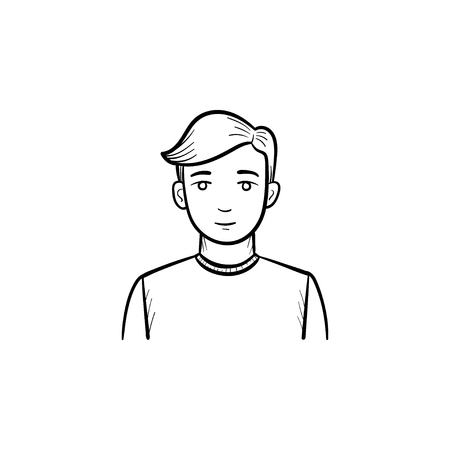 Man hand drawn vector icon. Outline doodle icon of a man trader. Sketch illustration for print, web, mobile and infographics isolated on white background.