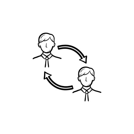 Employee staff turnover hand drawn outline doodle vector icon. Substitute staff in business turnover sketch illustration for print, web, mobile and infographics isolated on white background. Illustration