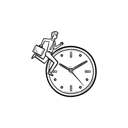 Vector hand drawn clock with running man outline doodle icon. Concept of time changing sketch illustration for print, web, mobile and infographics isolated on white background. Illustration
