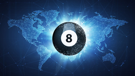Billiard Ball flying in white particles on the background of blockchain technology network polygon world map. Sport competition concept for billiard tournament poster, placard, card or banner. Stock Photo