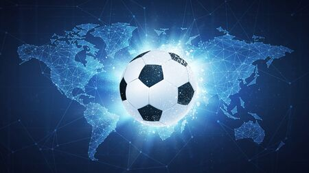 Soccer football ball flying in white particles on the background of blockchain technology network polygon world map. Sport competition concept for football tournament poster, placard, card or banner. Imagens