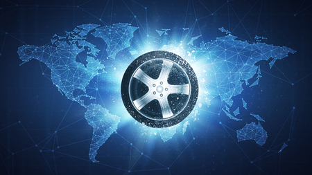 Car wheel flying in white particles on the background of blockchain technology network polygon world map. Sport competition concept for car race tournament poster, placard, card or banner.