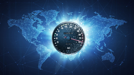 Speedometer flying in white particles on the background of blockchain technology network polygon world map. Sport competition concept for car race tournament poster, placard, card or banner. Stock Photo