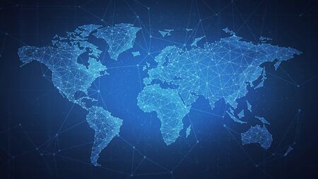 Polygon world map with blockchain technology peer to peer network on blue background. Network, p2p business, e-commerce, bitcoin trading and global cryptocurrency blockchain business banner concept. Stock Photo