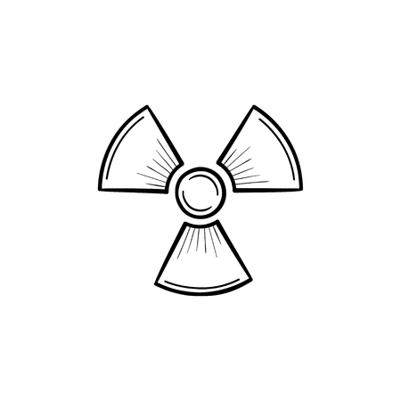 Radioactive sign hand drawn outline doodle icon. Propeller sign symbolizing radioactive pollution vector sketch illustration for print, web, mobile and infographics isolated on white background. Banque d'images - 96784822
