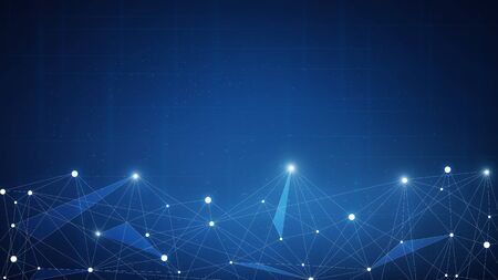 Blockchain technology network futuristic hud background with chain of blocks polygon peer to peer network. Global cryptocurrency blockchain fintech business banner concept.