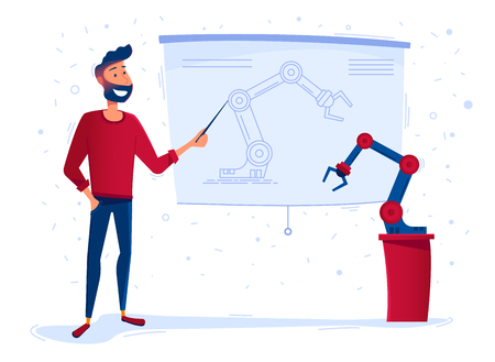 New robot presentation. A man explains features of a new robotic arm. Robots as a part of business and industry concept. A new robotic electronic product vector illustration cartoon. Horizontal layout