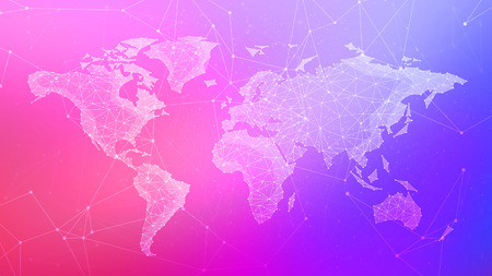 Polygon world map with blockchain peer to peer network on blurred gradient multicolored background. Network, p2p business, bitcoin trading and global cryptocurrency blockchain business banner concept. Stock Photo