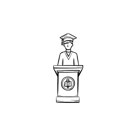 University graduation student hand drawn outline doodle icon. Student giving a speech at the graduation of university vector sketch illustration for print, web, mobile isolated on white background. Ilustração