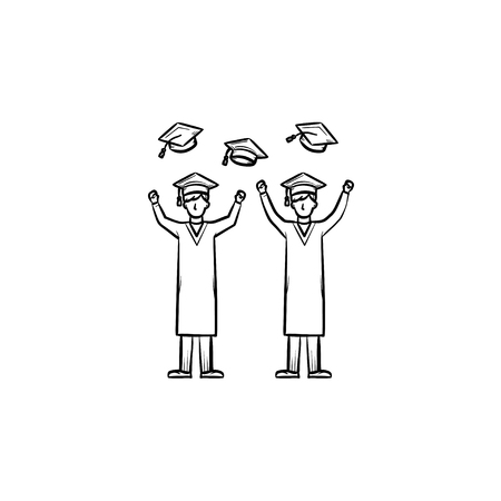 University graduates hand drawn outline