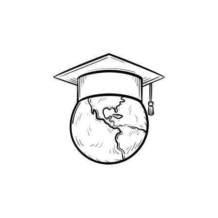 Globe in graduation cap Stock Vector - 97138660