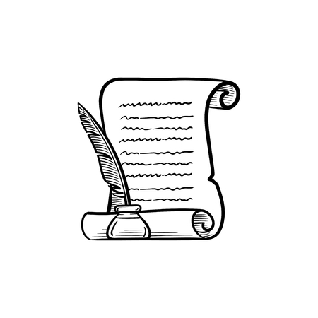 Manuscript paper scroll with feather pen in inkpot hand drawn outline doodle icon. Vettoriali