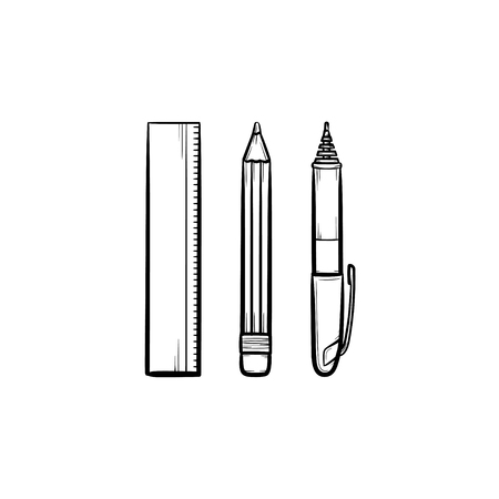 Stationery - ruler, pen and pencil hand drawn outline doodle icon.