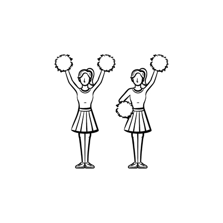 Cheerleader women with pom-pom hand drawn outline doodle icon. Girls cheer leaders vector sketch illustration for print, web, mobile and infographics isolated on white background. Stock Vector - 97179177