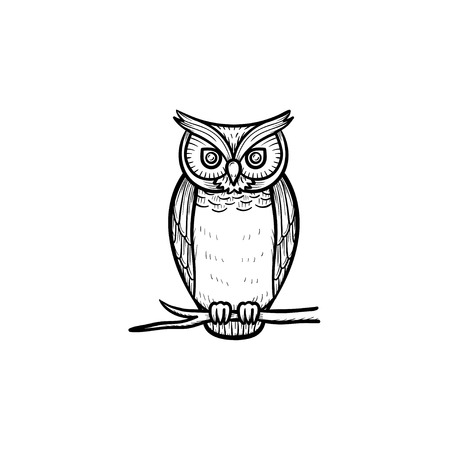 Wisdom owl hand drawn outline doodle icon. Owl bird symbolizing wisdom vector sketch illustration for print, web, mobile and infographics isolated on white background.