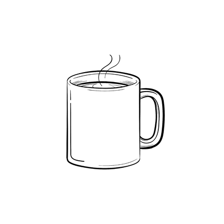 Mug of hot drink hand drawn outline doodle icon. Coffee mug with steam vector sketch illustration for print, web, mobile and infographics isolated on white background.  イラスト・ベクター素材