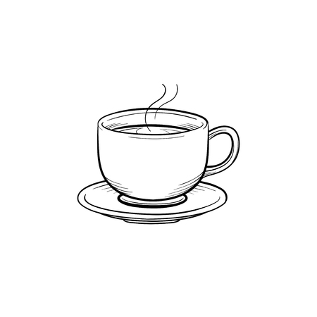 Coffee cup hand drawn outline doodle icon. Saucer and cup of coffee vector sketch illustration for print, web, mobile and infographics isolated on white background.