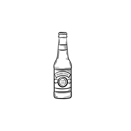 Beer bottle hand drawn outline doodle icon. Vector sketch illustration of craft beer bottle for print, web, mobile and infographics isolated on white background. 向量圖像