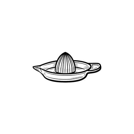 Lemon squeezer hand drawn outline doodle icon. Equipment for making citrus juice - lemon squeezer vector sketch illustration for print, web, mobile and infographics isolated on white background. Ilustração