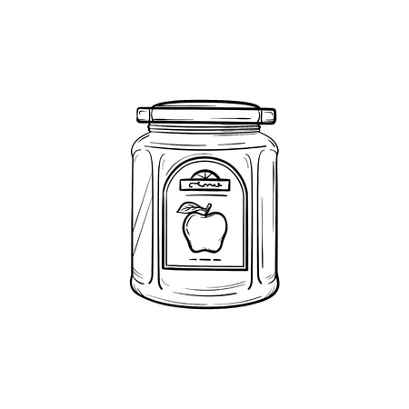 Apple jam in a glass jar hand drawn outline doodle icon. Closed glass jar of apple jam vector sketch illustration for print, web, mobile and infographics isolated on white background. Banco de Imagens - 97179211