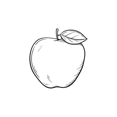 アップルフルーツハンド描き輪郭落書きアイコン。新鮮な健康的な果物 - 印刷、ウェブ、モバイル、インフォグラフィックスのためのリンゴベクトルスケッチイラストは、白の背景に分離しました。 写真素材 - 97179213