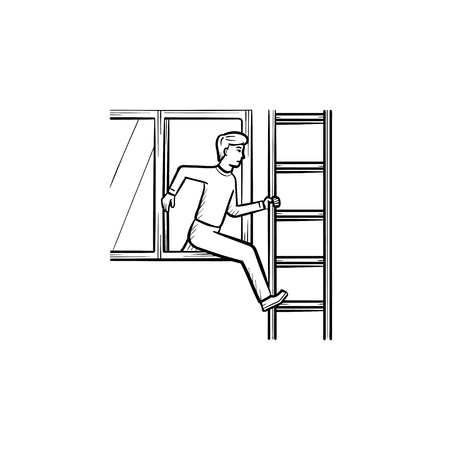 Person leaving the building through a window on the ladder due to a fire accident hand drawn outline doodle icon. Fire accident vector sketch illustration for print, web, mobile and infographics. Ilustracja