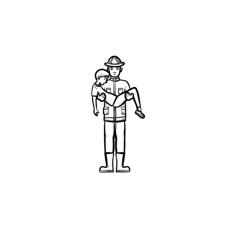 Strong fireman rescuing a person hand drawn outline doodle icon. Fireman rescuing a man vector sketch illustration for print, web, mobile and infographics isolated on white background.