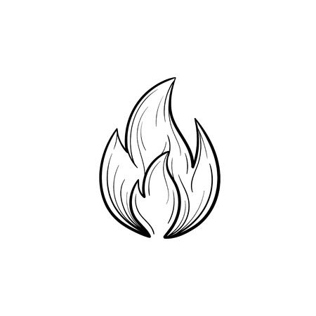 Fire flame hand drawn outline doodle icon. Vector sketch illustration of fire flame for print, web, mobile and infographics isolated on white background.