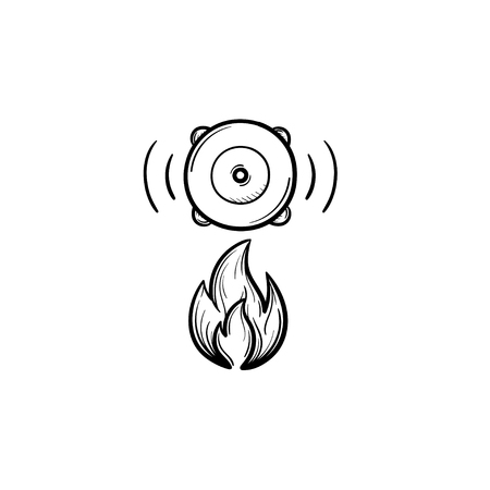Fire alarm hand drawn outline doodle icon. Finger pressing fire siren for people safety button vector sketch illustration for print, web, mobile and infographics isolated on white background.