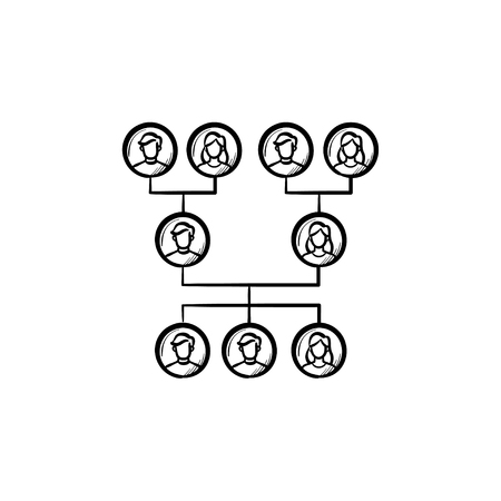 Family genealogical tree hand drawn outline doodle icon. Vector sketch illustration of family genealogical tree for print, web, mobile and infographics isolated on white background. Illustration