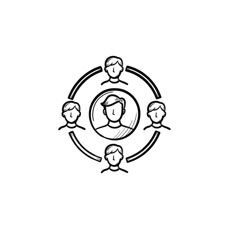Family circle hand drawn outline doodle icon. Vector sketch illustration of family circle for print, web, mobile and infographics isolated on white background.