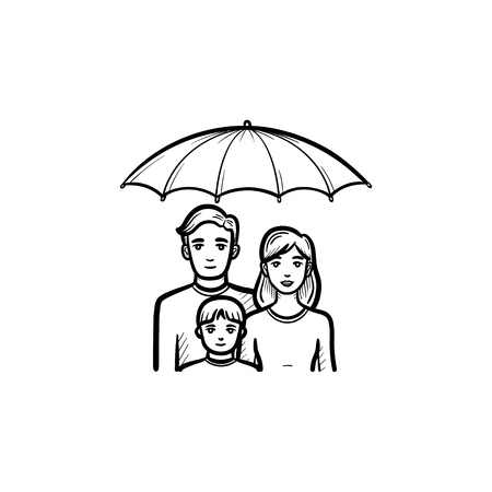 Family insurance hand drawn outline doodle icon. Umbrella over family vector sketch illustration for print, web, mobile and infographics isolated on white background.