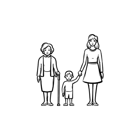 Family generation hand drawn outline doodle icon. Three generation of family - grandmother, mother and kid vector sketch illustration for print, mobile and infographics isolated on white background.