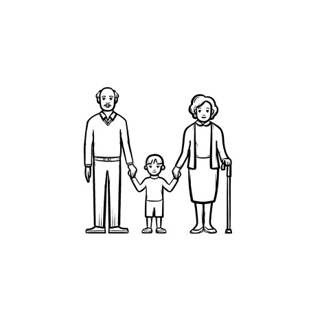 Grandparents and grandson hand drawn outline doodle icon. Happy family together. Standard-Bild - 97116214
