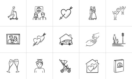 Wedding and family hand drawn outline doodle icon set for print, web, mobile and infographics.