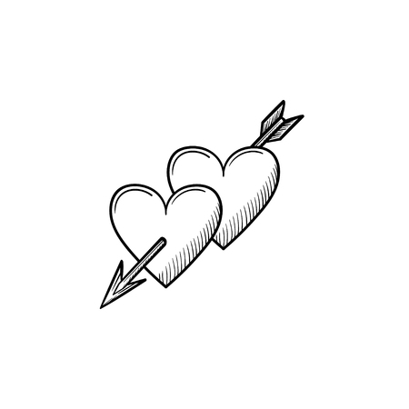 Hearts with cupid arrow hand drawn outline doodle icon. Valentine hearts pierced by cupid arrow vector sketch illustration.