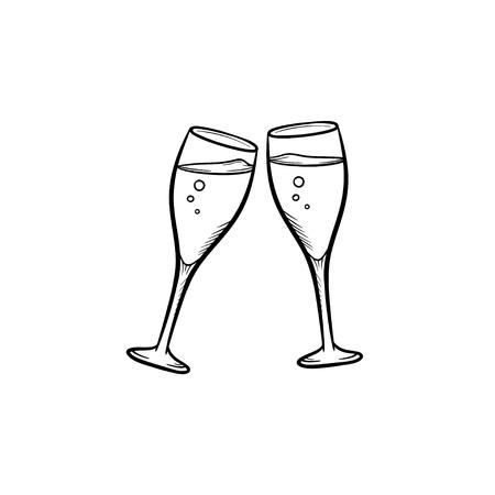 Icona di doodle di contorni disegnati a mano bicchieri di Champagne.