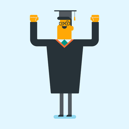 Young Caucasian cheerful graduate in graduation cloak throwing up hat. Ilustrace
