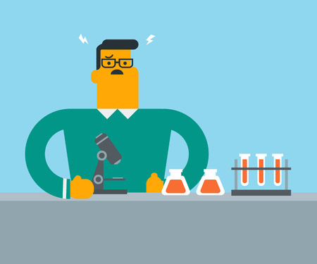 Disappointed caucasian student carrying out experiment in laboratory class. Young male student clutching head after failed experiment in chemistry class. Vector cartoon illustration. Square layout.
