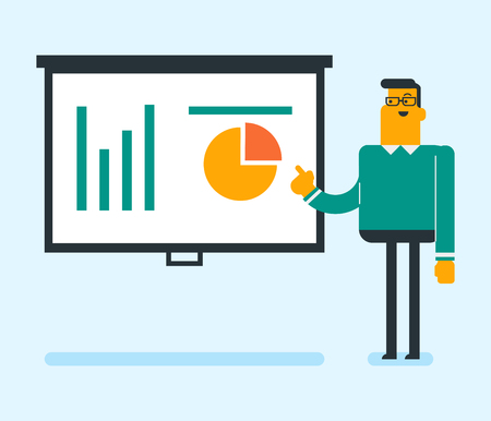 Business man presenting review of financial data. Business man pointing at board with financial data. Business man explaining financial data. Vector flat design illustration. Square layout.