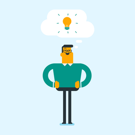 Young excited student with bright idea lightbulb. Student having a great idea. Vector cartoon illustration. Square layout.