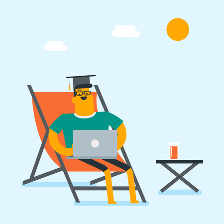 Caucasian graduate lying in chaise longue under beach umbrella. Young graduate in graduation cap working on a laptop on the beach. Online education concept. Vector cartoon illustration. Square layout.