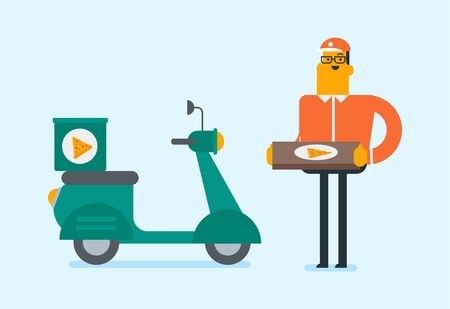 Young caucasian man delivering pizza on a scooter. Worker of delivery service of pizza driving a motorbike and delivering pizza. Concept of food delivery. Vector cartoon illustration. Horizontal layout.