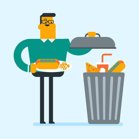 Caucasian man putting junk food into a trash can. Smiling man refusing to eat junk food. Young man rejecting junk food. Man throwing out junk food. Vector cartoon illustration. Square layout.