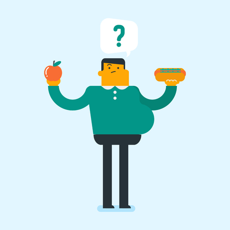 Young caucasian man holding apple and hamburger. Man choosing between apple and hamburger. Concept of choice between healthy and unhealthy nutrition. Vector cartoon illustration. Square layout.