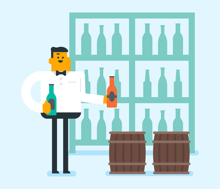 Caucasian waiter holding a bottle of wine. waiter standing with a bottle of wine in hands on the background barrels. waiter presenting a wine bottle. Vector cartoon illustration. Square layout. Иллюстрация