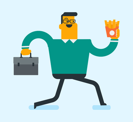 Caucasian business man eating hot dog in a hurry. Business man eating on the run. Young business man running with briefcase and eating hot dog. Vector cartoon illustration. Square layout.