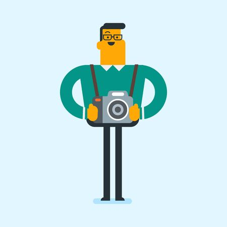 Young caucasian male photographer standing with many photo cameras equipment. Full length of a professional photojournalist with a lot of photo cameras. Vector cartoon illustration. Square layout. Illustration